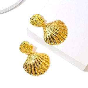 Big Gold  Tone Shell Earrings